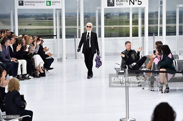 Karl Lagerfeld walks the runway during the Chanel show as part of the Paris Fashion Week Womenswear Spring/Summer 2016 on October 6 2015 in Paris...