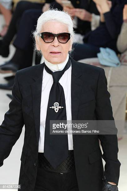 Karl Lagerfeld walks the runway during the Chanel show as part of the Paris Fashion Week Womenswear Fall/Winter 2016/2017 on March 8 2016 in Paris...