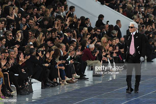 Karl Lagerfeld walks the runway during the Chanel Spring / Summer 2013 show as part of Paris Fashion Week at Grand Palais on October 2 2012 in Paris...