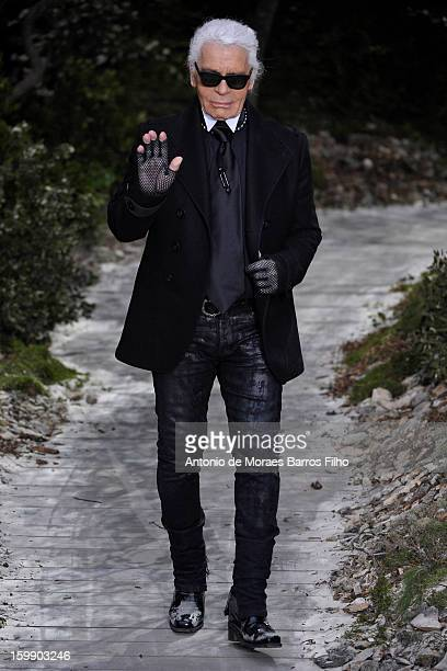 Karl Lagerfeld walks the runway during the Chanel Spring/Summer 2013 HauteCouture show as part of Paris Fashion Week at Grand Palais on January 22...