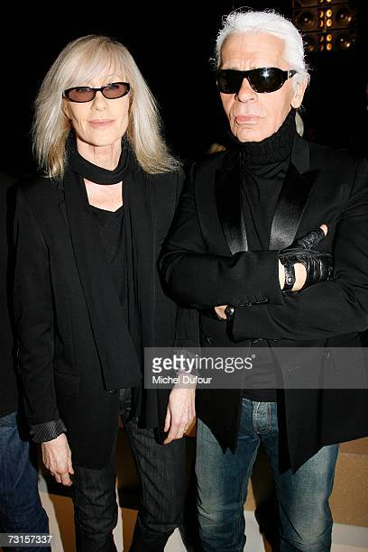Karl Lagerfeld with Betty Catroux attends the Dior Men Fashion Show Autumn Winter 07 08 on January 30 2007 in Paris France