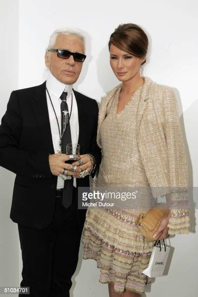 Karl Lagerfeld with Melania Knauss Mr Trump's girl friend attend the Chanel Spring/Summer 2005 Fashion Show during Paris Fashion Week on July 7 2004...