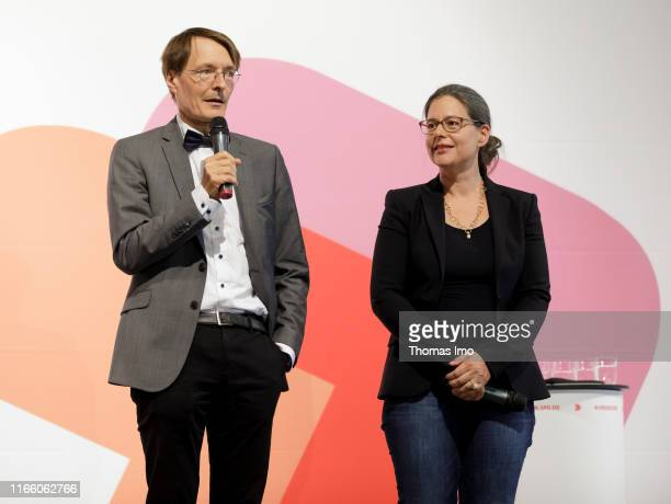 Karl Lauterbach and Nina Scheer are pictured at the presentation of the candidates for the SPD party chairmanship on September 04 2019 in...