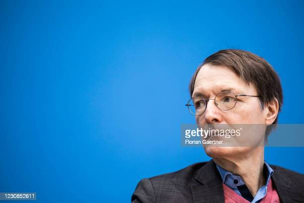 Karl Lauterbach, Member of the German Bundestag for Social Democratic Party of Germany, is pictured during a press conference about a 'draft law for...