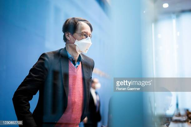 Karl Lauterbach, Member of the German Bundestag for Social Democratic Party of Germany, is pictured after a press conference about a 'draft law for...