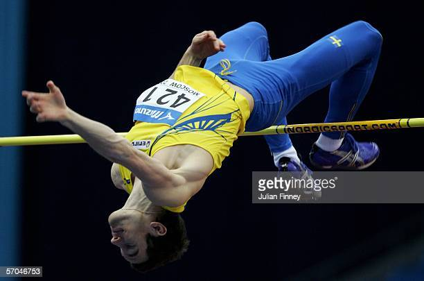 Karl Linus Thornblad of Sweden in action in the high jump qualification during the 11th IAAF World Indoor Championship Day One at the Olimpiysky...