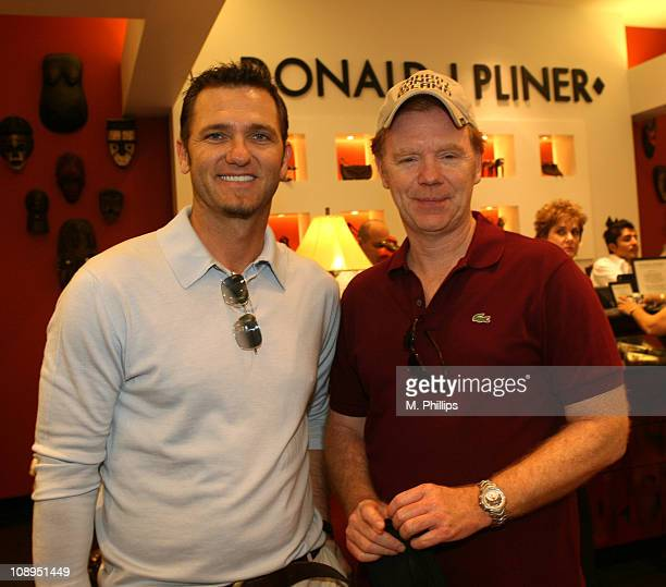 Karl Makimen and David Caruso during Donald J Pliner Instore To Benefit Cure Autism Now in Los Angeles California United States
