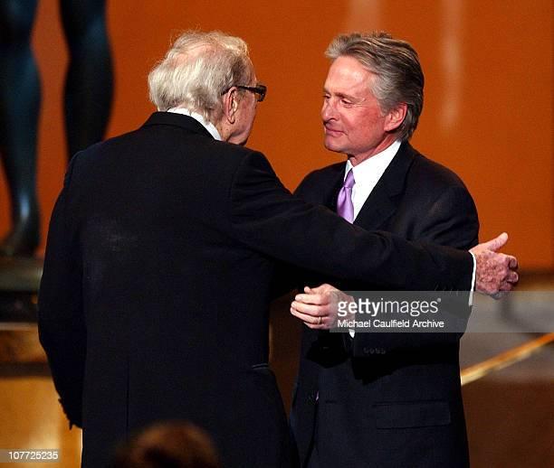 Karl Malden accepts his Lifetime Achievement Award from Michael Douglas