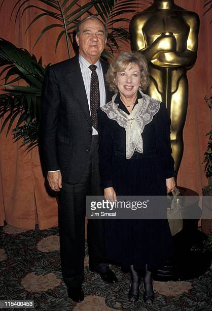 Karl Malden and Mona Graham during 59th Academy Awards Nominees Luncheon at Beverly Hilton Hotel in Beverly Hills CA United States