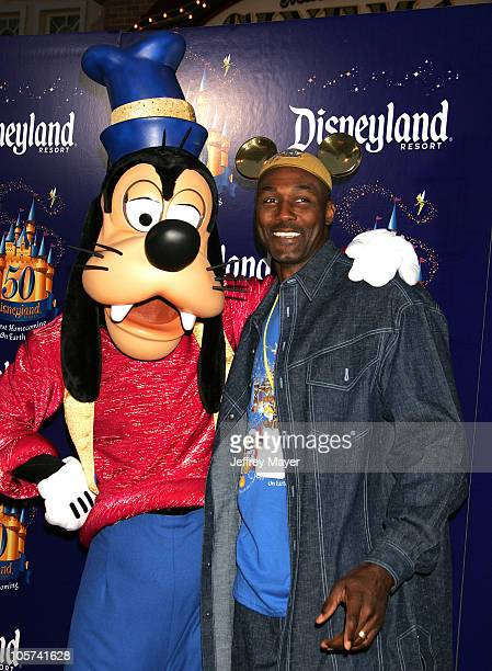 Karl Malone and Goofy during Disneyland 50th Anniversary 'Happiest Homecoming On Earth' Celebration at Disneyland in Anaheim California United States