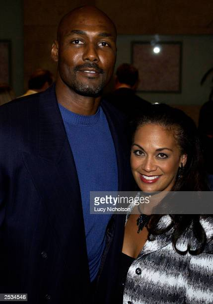 Karl Malone and his wife Kaye attend the 2003 Operation Smile West Coast gala on September 24, 2003 in Beverly Hills, California.