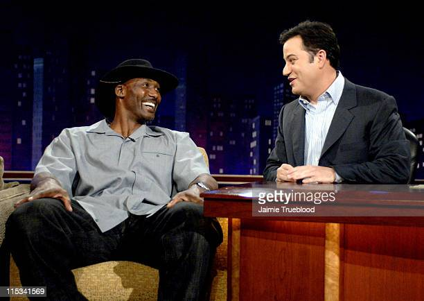 Karl Malone and Host Jimmy Kimmel on the 'Jimmy Kimmel Live' show on ABC Photo by Jaimie Trueblood/WireImage/ABC
