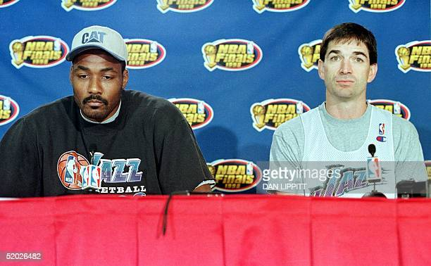 Karl Malone and John Stockton of the Utah Jazz appear 08 June at a press conference at the United Center in Chicago IL The Chicago Bulls defeated the...