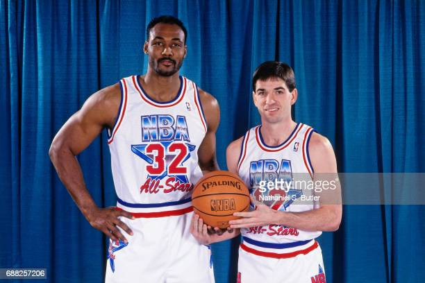 Karl Malone and John Stockton of the Western Conference AllStars pose for a portrait during the 1993 NBA AllStar Game on February 21 1993 at the...