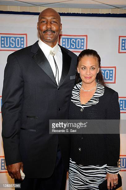 Karl Malone and Kay Malone arrive at the 2011 USO Gala and USO Service Member of the Year Awards at the Marriott Wardman Park Hotel on October 6 2011...