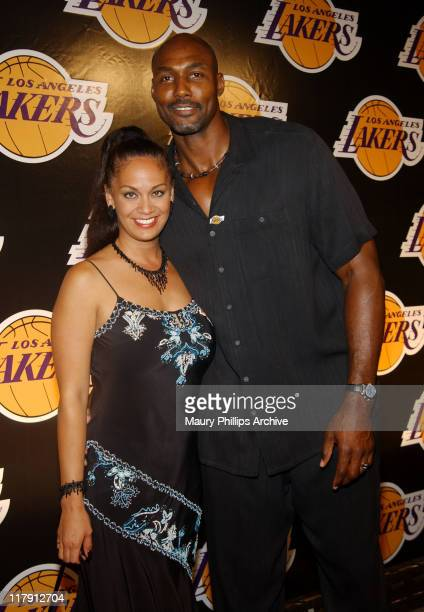 Karl Malone and wife Kay during The Los Angeles Lakers Welcome Their Two New AllStar Players Karl Malone and Gary Payton Arrivals at Lucky Strike in...