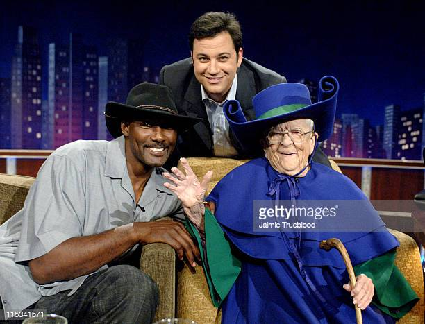 Karl Malone Host Jimmy Kimmel and Meinhardt Raabe on the 'Jimmy Kimmel Live' show on ABC Photo by Jaimie Trueblood/WireImage/ABC