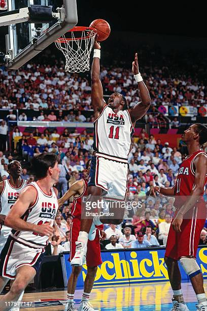 Karl Malone of the United States Senior Men's National Basketball Team shoots against Panama during the Basketball Tournament of Americas circa 1992...