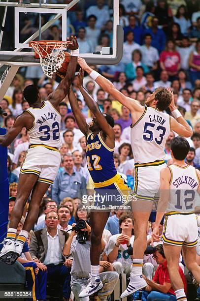Karl Malone of the Utah Jazz blocks the shot of James Worthy of the Los Angeles Lakers during a game in the Western Conference Semifinals circa 1988...