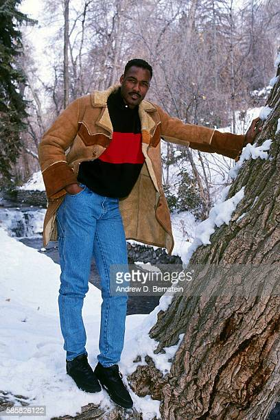 Karl Malone of the Utah Jazz poses for a portrait circa 1991 in Salt Lake City Utah NOTE TO USER User expressly acknowledges and agrees that by...