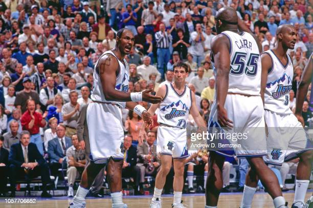 Karl Malone of the Utah Jazz reacts during Game Two of the Western Conference Semifinals as part of the 1997 NBA Playoffs on May 6 1997 at the Delta...