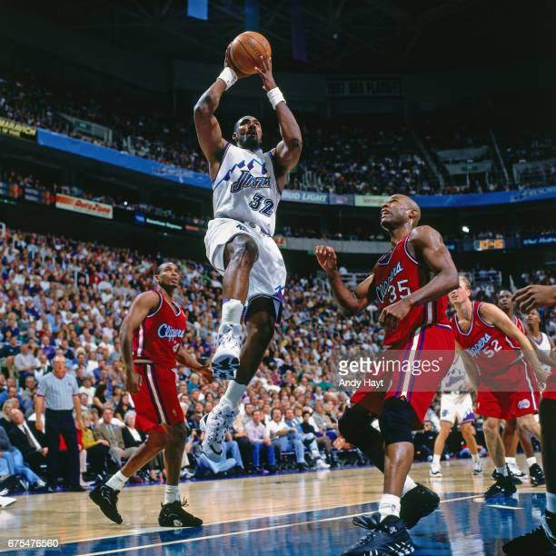 Karl Malone of the Utah Jazz shoots against the Los Angeles Clippers during Game One of the First Round of the 1997 NBA playoffs on April 24 1997 at...
