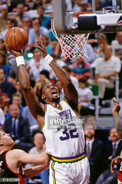 Karl Malone of the Utah Jazz shoots against the Portland Trail Blazers during a game at Salt Palace in Salt Lake City Utah circa 1991 NOTE TO USER...