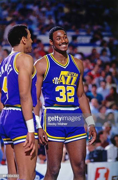 Karl Malone of the Utah Jazz smiles against the Sacramento Kings circa 1986 at Arco Arena in Sacramento California NOTE TO USER User expressly...