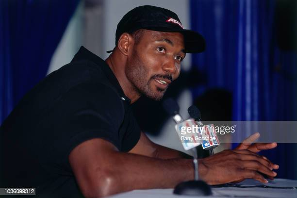 Karl Malone of the Utah Jazz talks with media at the post game interview after the game against the Chicago Bulls on June 8 1997 at the Delta Center...