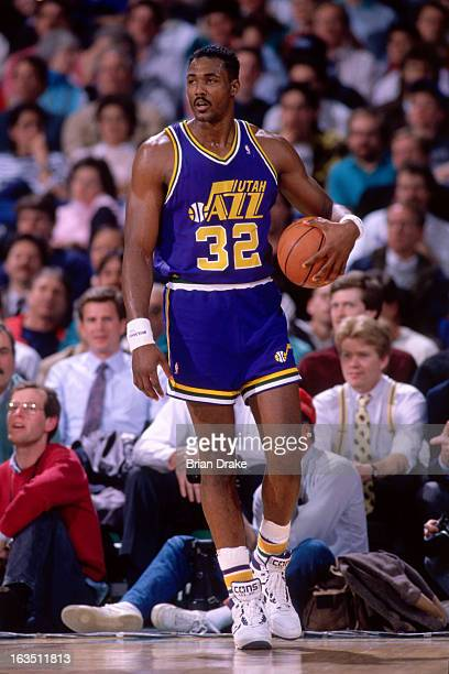 Karl Malone of the Utah Jazz walks against the Portland Trail Blazers during a game played circa 1989 at the Veterans Memorial Coliseum in Portland...