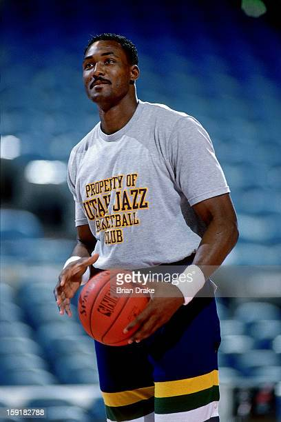 Karl Malone of the Utah Jazz warms up prior to a game against the Utah Jazz at the Veterans Memorial Coliseum in Portland Oregon circa 1987 NOTE TO...