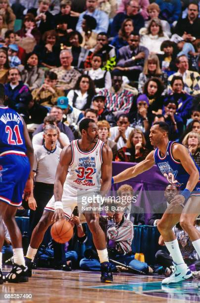 Karl Malone of the Western Conference AllStars posts up during the 1993 NBA AllStar Game on February 21 1993 at the Delta Center in Salt Lake City...