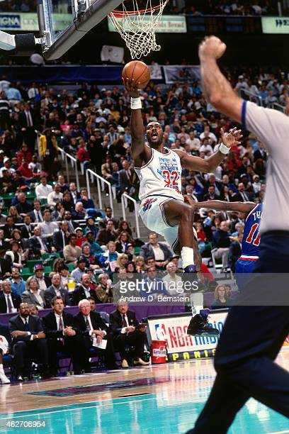 Karl Malone of the Western Conference AllStars shoots against the Eastern Conference AllStars during the 1993 AllStar Game on February 21 1993 at the...