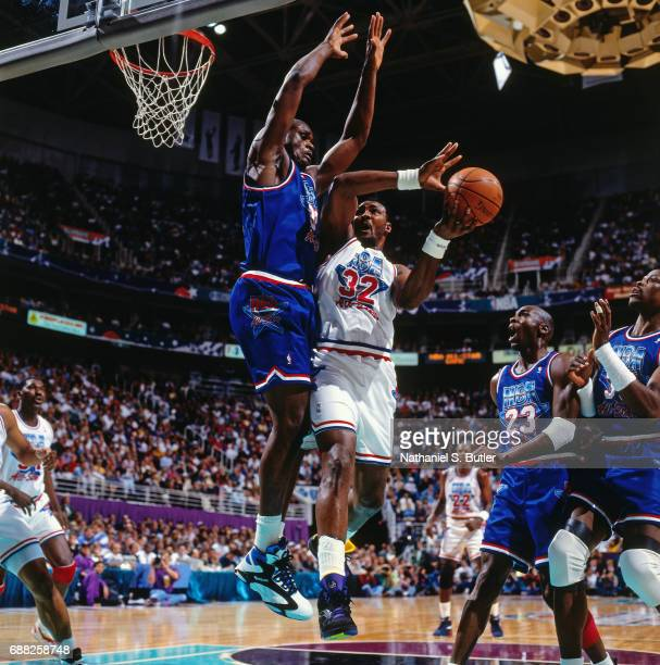 Karl Malone of the Western Conference AllStars shoots during the 1993 NBA AllStar Game on February 21 1993 at the Delta Center in Salt Lake City Utah...