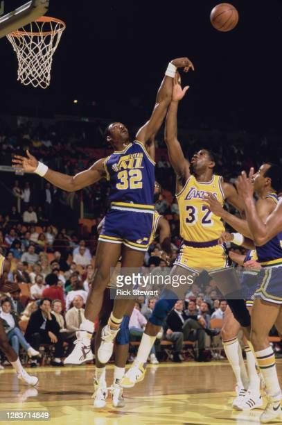 Karl Malone, Power Forward for the Utah Jazz blocks Magic Johnson of the Los Angeles Lakers during the NBA Pacific Division basketball game on 18th...