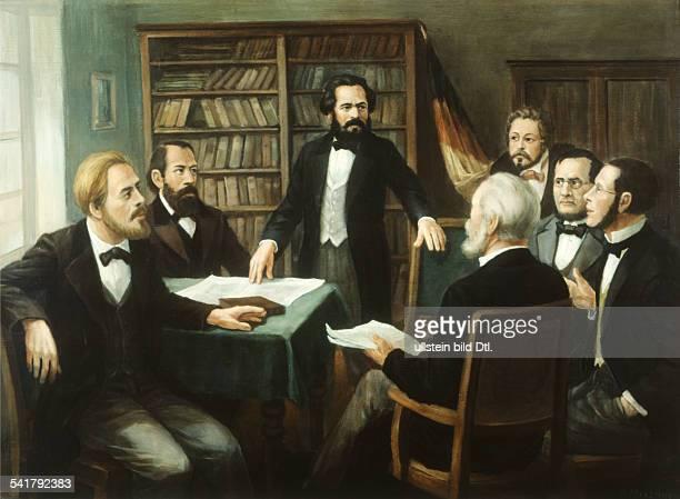 Karl Marx *0505181814031883 Philosoph Revolutionär D Marx mit seinen Mitarbeitern in der Redaktion der 'Neuen Rheinischen Zeitung' Gemälde von Hans...