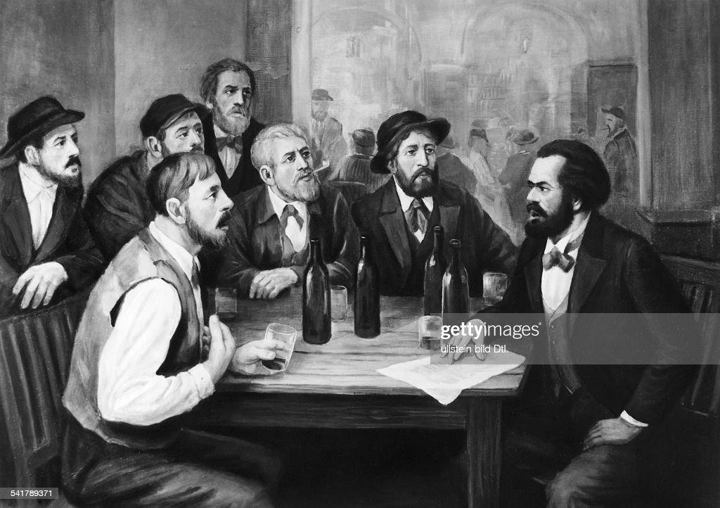 Karl Marx *05.05.1818-14.03.1883+Philosoph, Revolutionär; D- diskutiert in einem Lokal mitfranzösischen ArbeiternGemälde von Hans Mocznay- 1952 / 1953