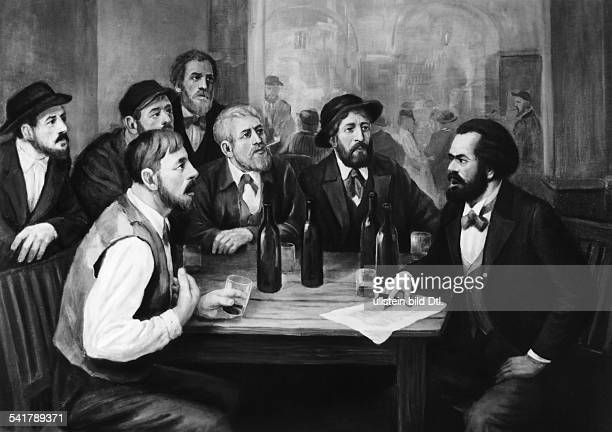 Karl Marx *0505181814031883Philosoph Revolutionär D diskutiert in einem Lokal mitfranzösischen ArbeiternGemälde von Hans Mocznay 1952 / 1953