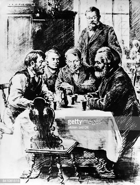 Karl Marx *05.05.1818-14.03.1883+Philosoph, Revolutionär, Dim Gespräch mit Arbeiternin einem Gasthaus- undatiert