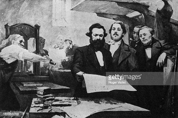 Karl Marx and Engels in the printing house of the Neue Rheinische Zeitung Painting by E Capiro