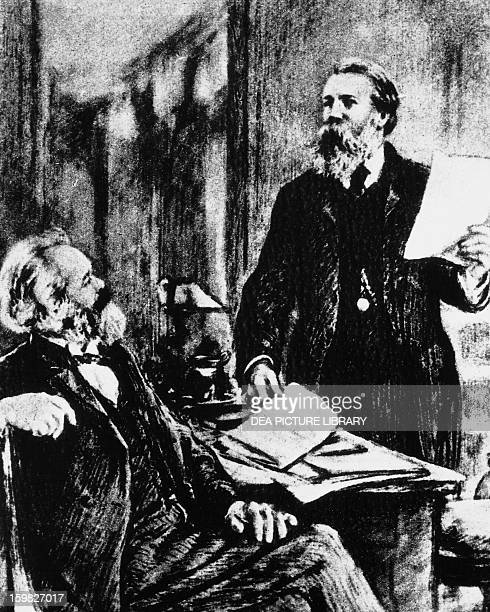 Karl Marx and Friedrich Engels , German philosophers and economists.