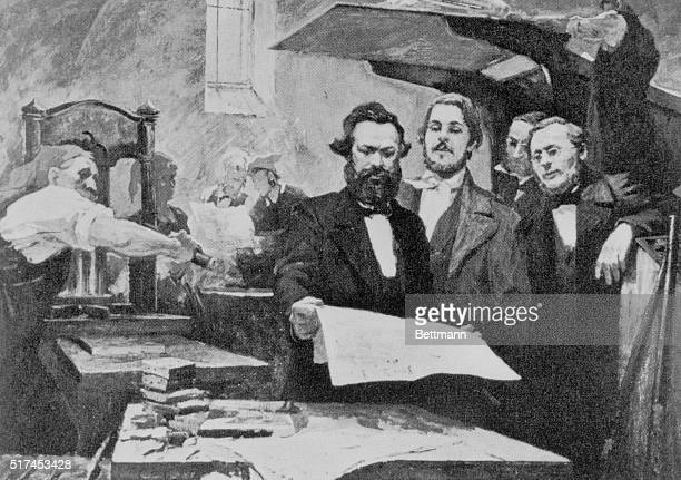 Karl Marx and Friedrich Engles in pressrooms of Rheinische Zeitung which they jointly edited Undated screened illustration