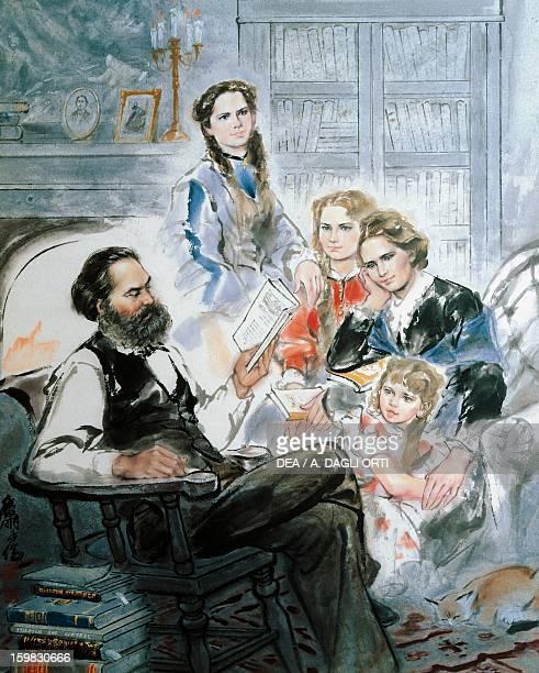 Karl Marx and his family watercolour by Ghan Zen Mon Treviri KarlMarxHaus