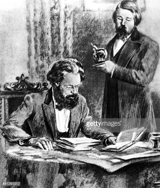 Karl Marx et Friedrich Engels travaillant ensemble