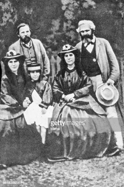Karl Marx Friedrich Engels And Daughters Jenny Laura Eleanor 1864