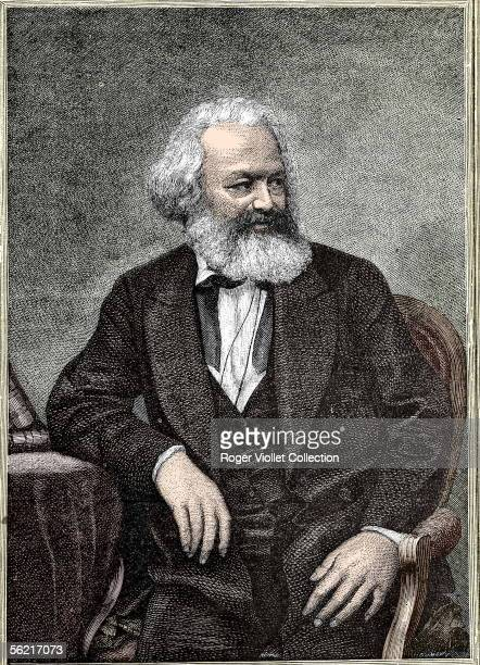 Karl Marx German theorician of socialism and revolutionary Engraving BN Colourized photo
