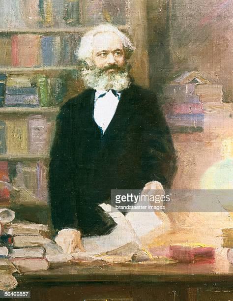Karl Marx in his studio. Ar. 1875. [Karl Marx in seinem Arbeitszimmer. Um 1875.]