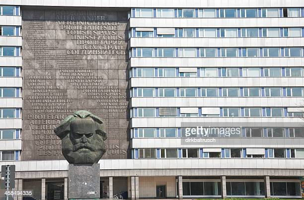 karl marx monument in chemnitz - chemnitz stock pictures, royalty-free photos & images