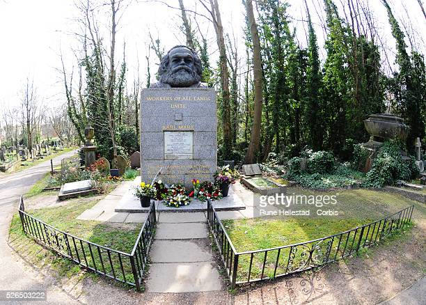 Karl Marx's gravestone in Highgate Cemetery in London