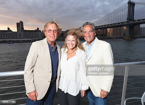 Karl Moscowitz Rochelle Geller and Peter Mirabella attend the Sunset Soiree Gotham Magazine Cruise at Pier 40 on July 15 2015 in New York City